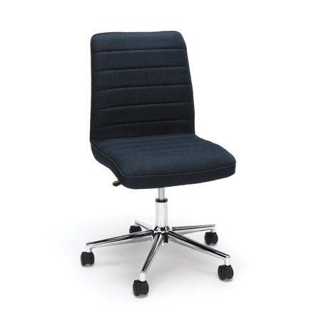ESS-2080-BLU Office Furniture Essential Series 250 Lbs Capacity Mid Back Blue Fabric Desk Chair With Dual Wheel Casters (Image Power Chair Mid Wheel)