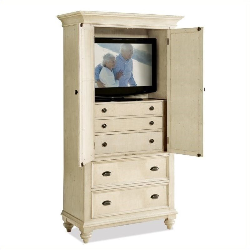 Bowery Hill Two Tone Armoire in Dover White by Bowery Hill