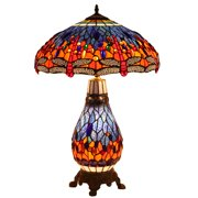Bieye L10545 18-inches Dragonfly Tiffany Style Stained Glass Table Lamp with Metal Base, 26-inch in Height