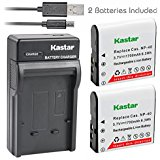 Kastar Battery (X2) & Slim USB Charger for Casio NP_40 NP40 & Kodak LB_060 AZ521 AZ361 AZ501 AZ522 AZ362 AZ526 camera and HP D35