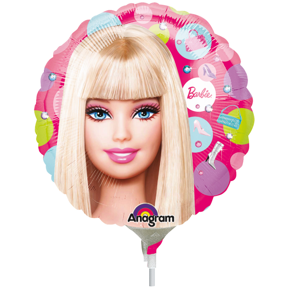 Anagram Blonde Barbie Dots Mini Foil Balloon, Pink Blue Green Purple