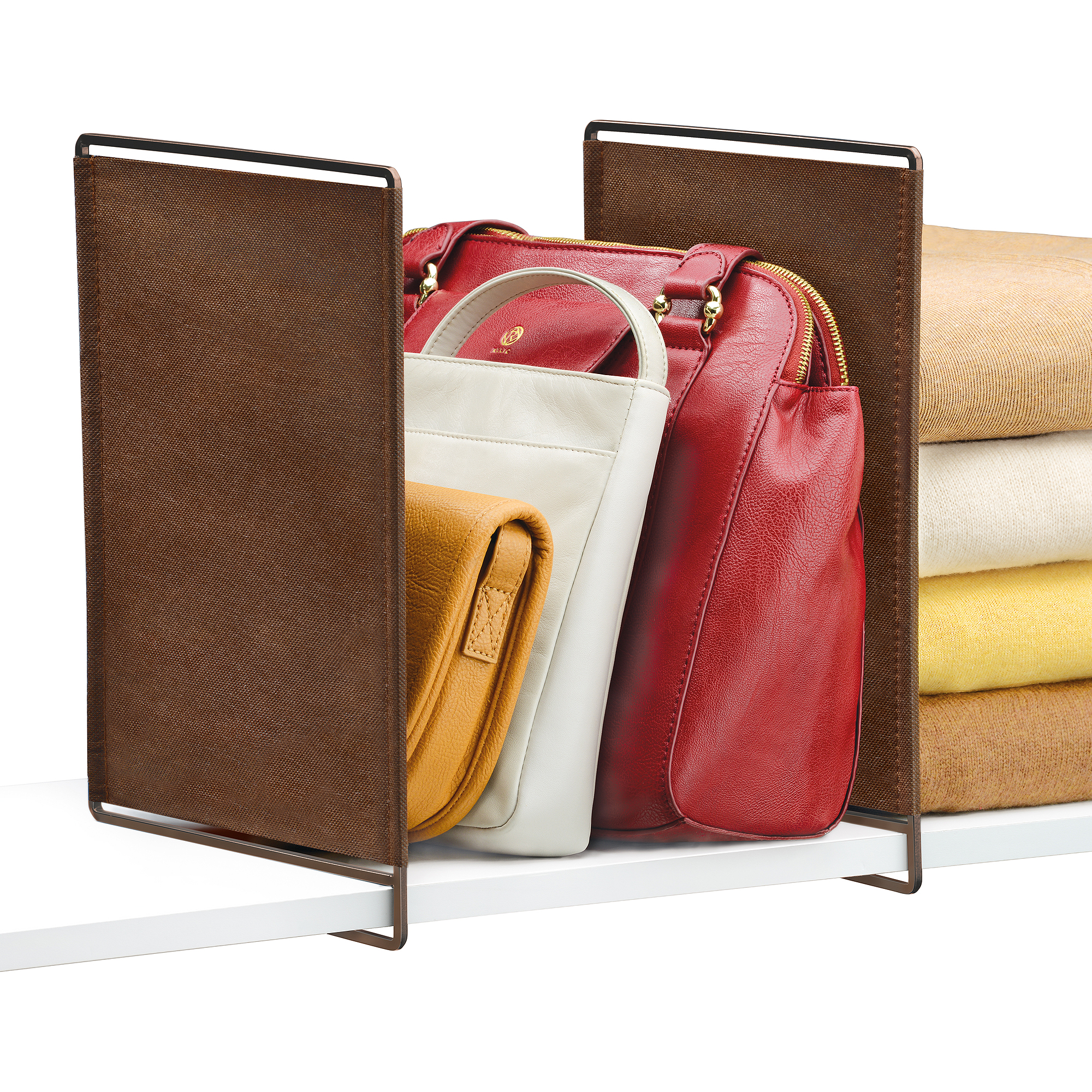 Lynk Vela Shelf Dividers, Closet Shelf Organizer (Set of 2) - Bronze