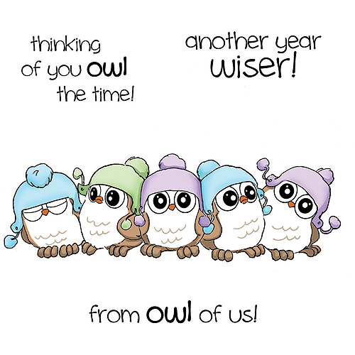 Art Impressions  Hoot! Cling Rubber Stamp-Five Whoots Set