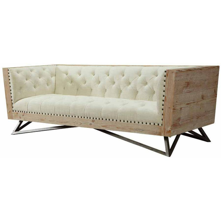 Armen Living Regis Cream Sofa with Pine Frame and Gunmetal Legs by Generic