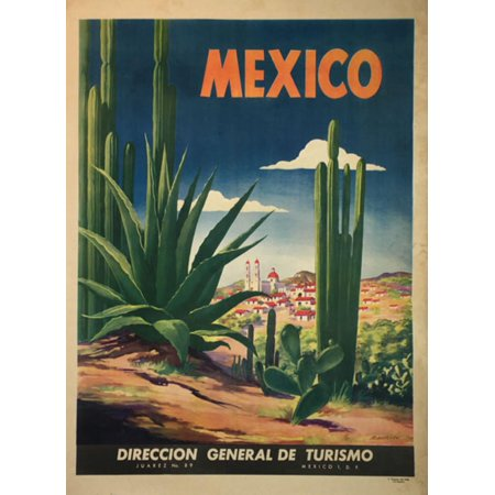 """vintage mexico travel paper poster 14"""" x 20"""" - image 1 of 1"""