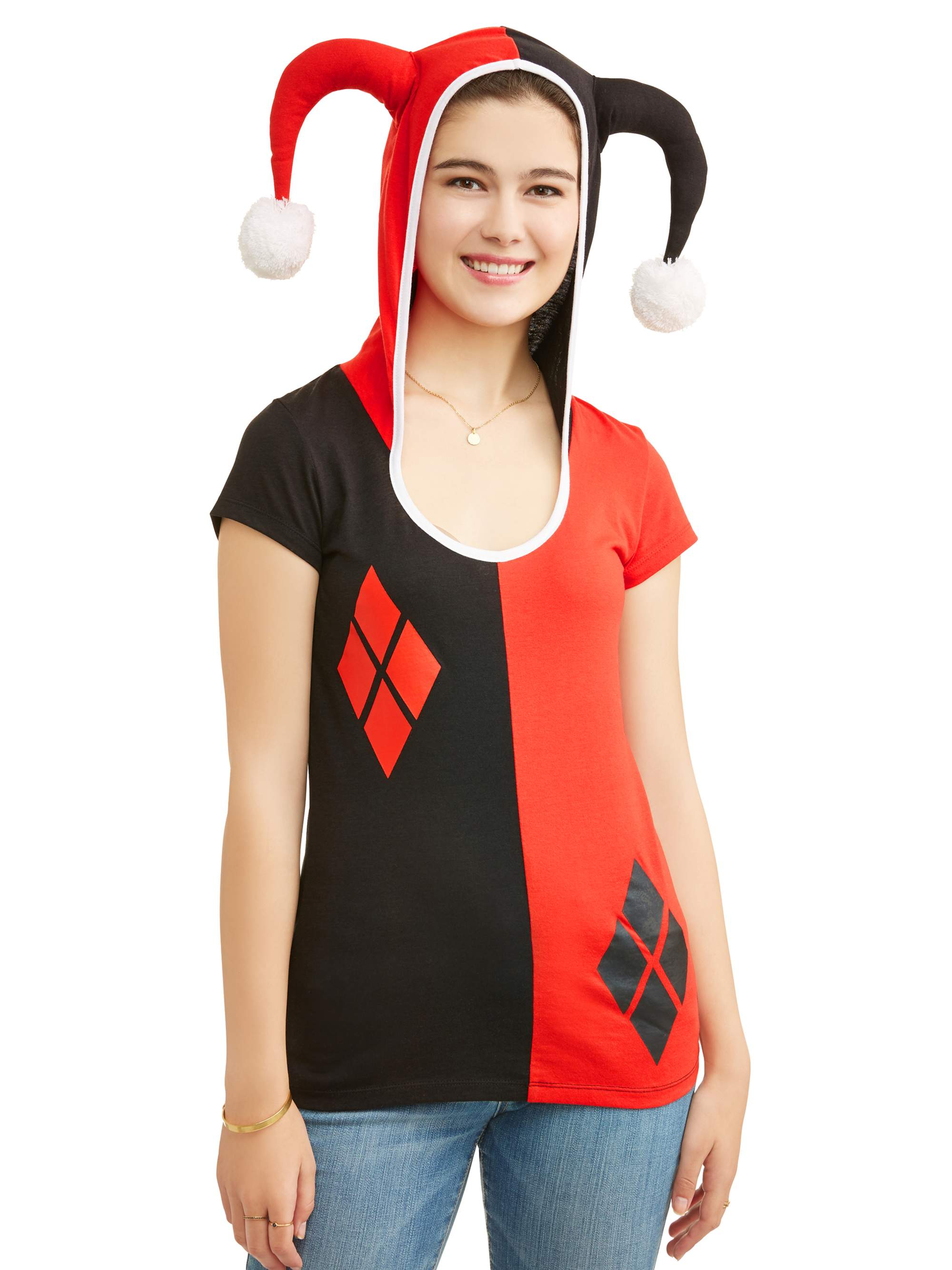 DC Comics Juniors' Harley Quinn Lightweight Hooded Cosplay Tee With Removable Cape