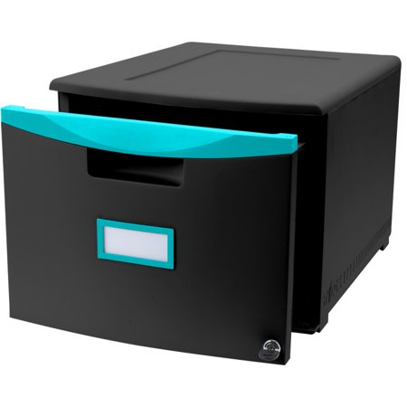 One Drawer Mini File Cabinet with Lock & Casters, Legal/Letter, Black/Teal