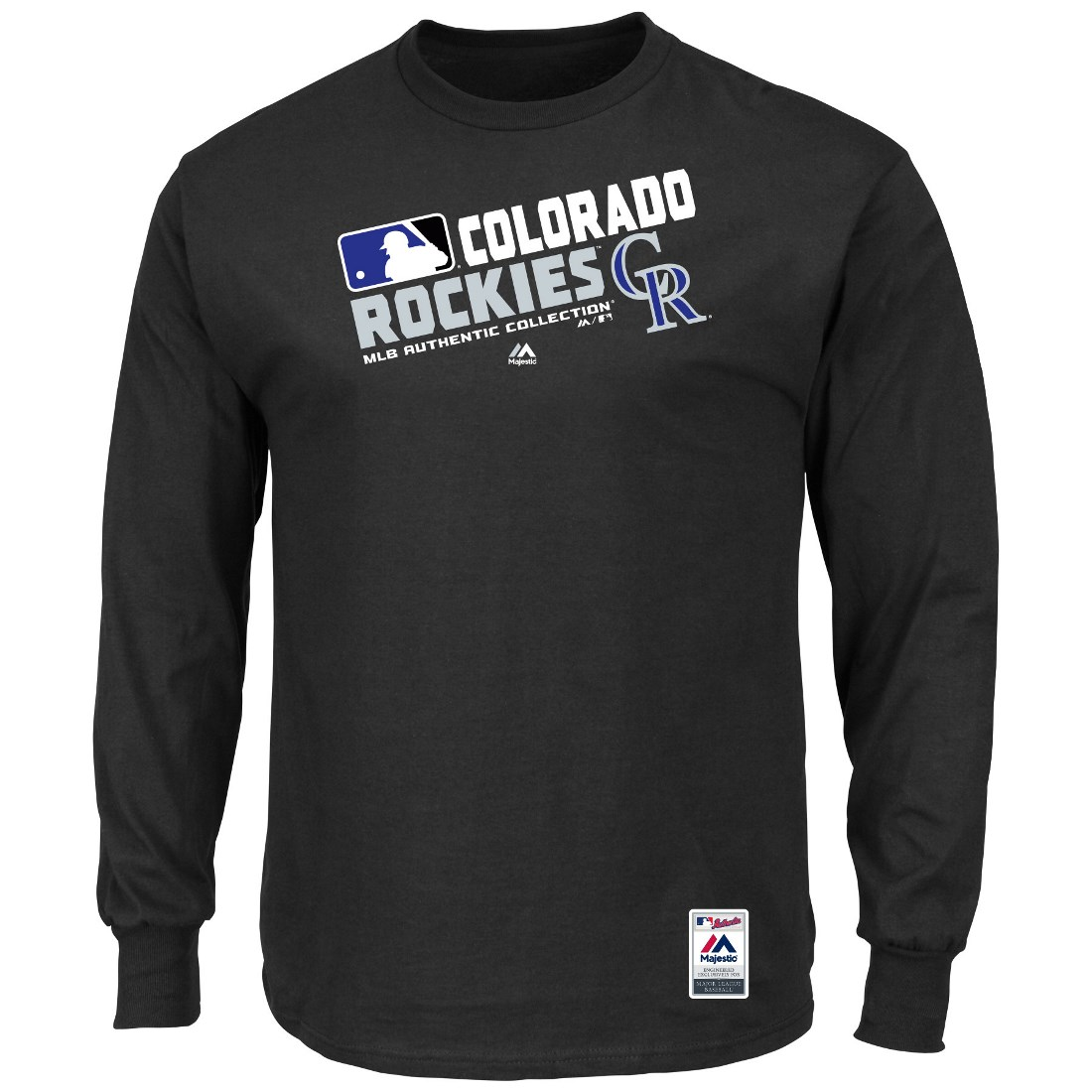 """Colorado Rockies Majestic MLB Authentic """"Team Choice"""" On-Field L/S T-Shirt"""