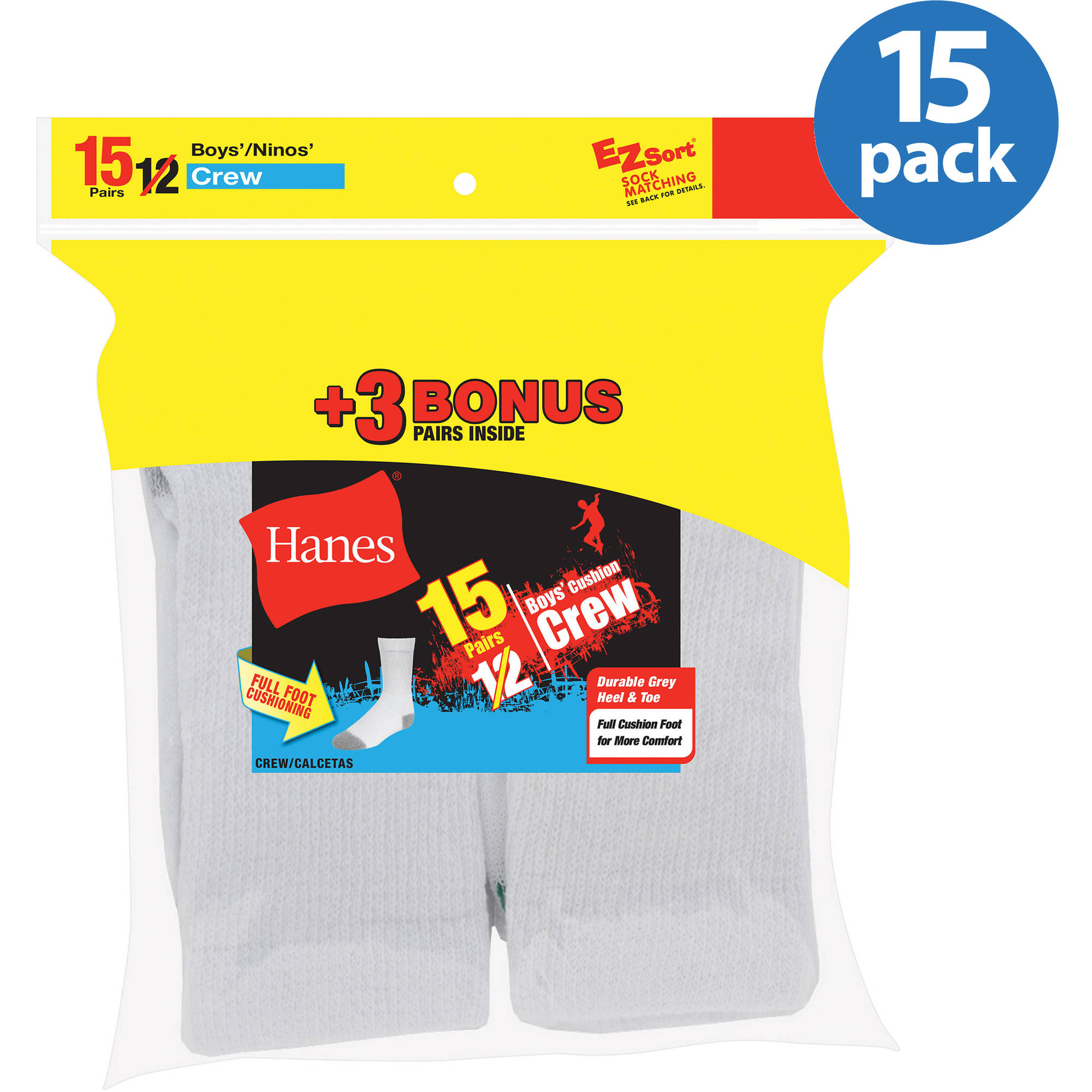 Hanes Boys' Full Cushion White Crew Socks, 12 + 3 Bonus Pack