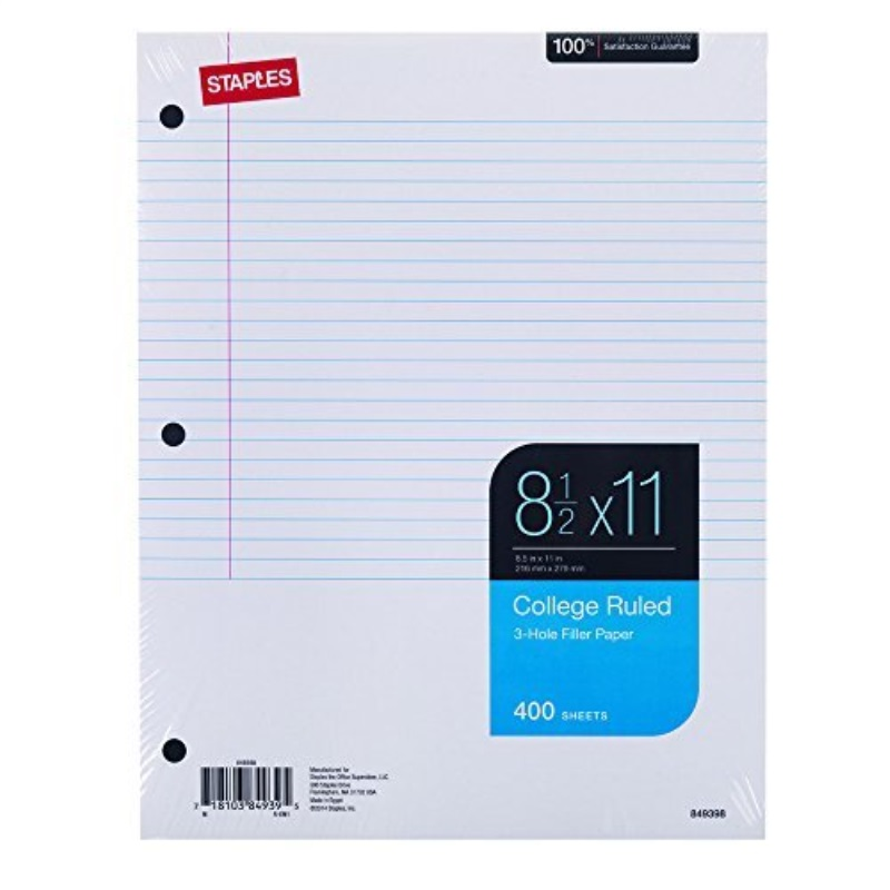 staples college grade loose binder paper (27521m)