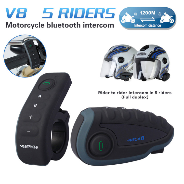 Bluetooth Intercom FM Radio Headset Remote Control NFC Motorcycle Helmet FM Radio 5 Riders Bluetooth Intercom