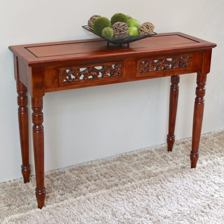 International Caravan Windsor Hand Carved Walnut Stain Wood 2 Drawer Console Table (Two Walnut)