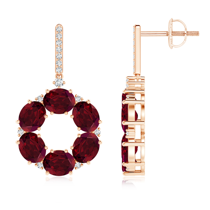 Angara Oval Garnet Circle Dangle Earrings With Diamond Accents KZRS4