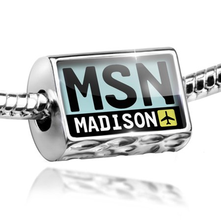 Bead Airport Code Msn   Madison Country  United States Charm Fits All European Bracelets