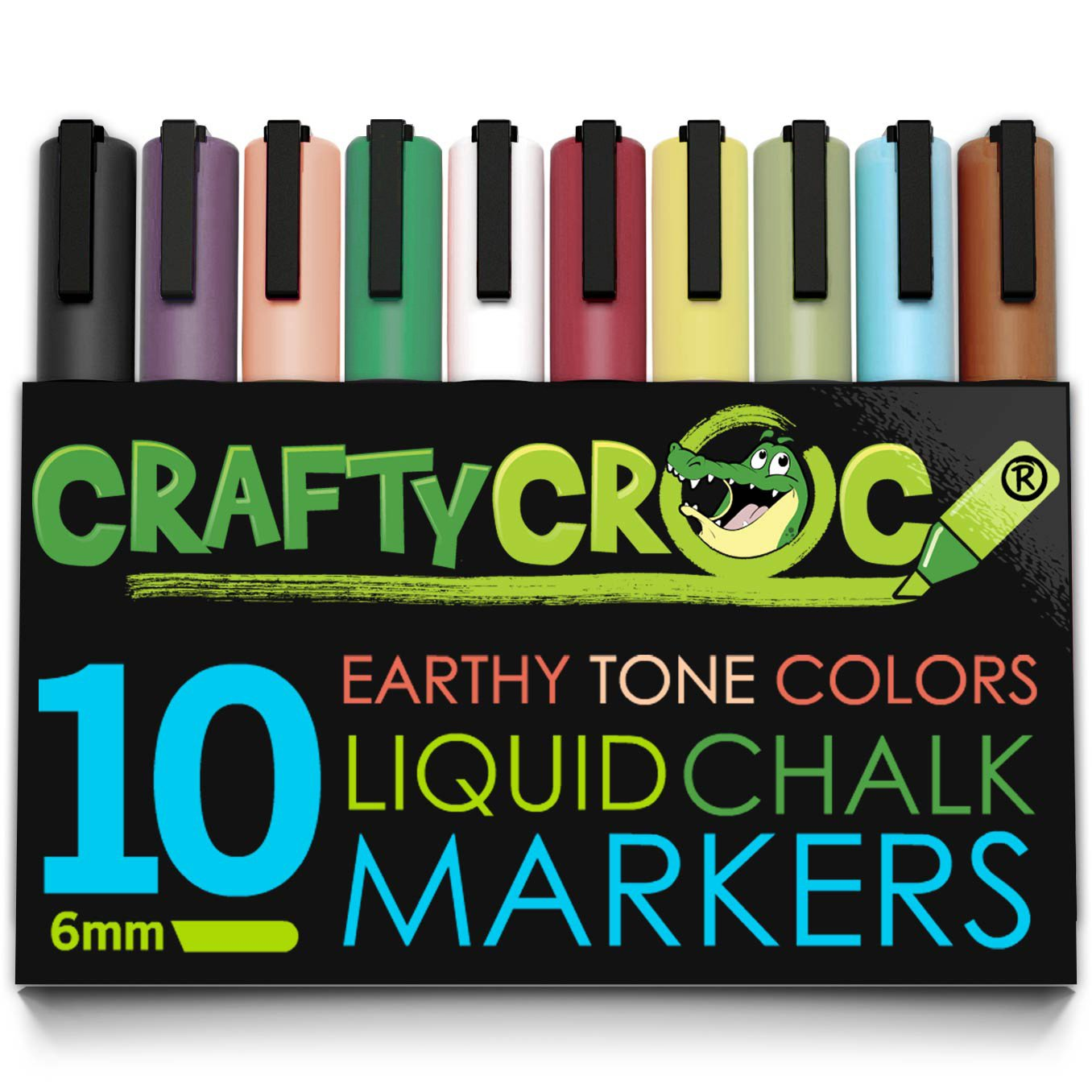 Crafty Croc Wet Erase Liquid Chalk Markers, Pack of 10 Earth Colors