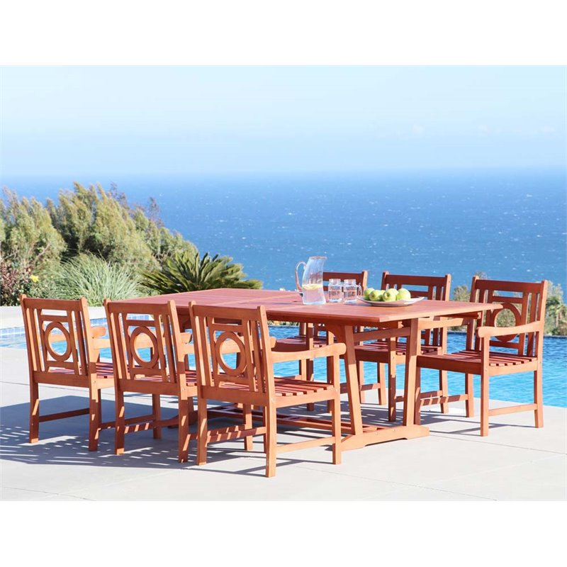 Vifah Malibu 7 Piece Hardwood Patio Dining Room Set by Vifah