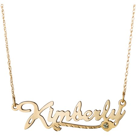 Personalized 10Kt Gold Script Name Necklace With Diamond Cut Heart Tail And Birthstone