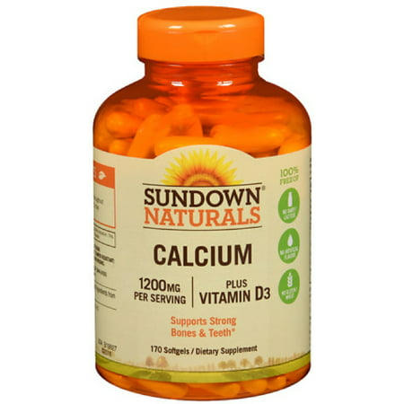 4 Pack - Sundown Naturals Calcium plus Vitamin D3, 1200mg, Softgels 170 ea