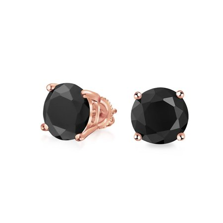 1Ct Black Round Solitaire Cubic Zirconia Stud Earrings For Men Women CZ Screw Back Rose Gold Plated 925 Sterling