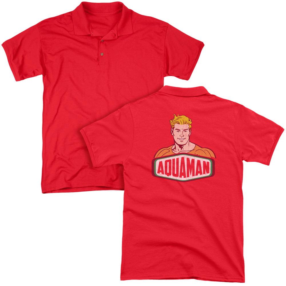 DC Comics Aquaman Sign Adult Back Print Polo T-Shirt
