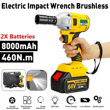 68V 8000mAh 460N.m LED Light Powerful Cordless Lithium-Ion Electric Impact Wrench Brushless Motor Rechargeable 2 Batteries With Portable Carry Case ()