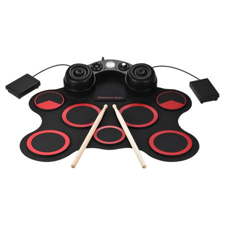 Portable USB Stereo Digital Electronic Drum Kit Set 7 Silicon Drum Pads Built-in Double Speakers Supports Recording Function with Drumsticks Foot