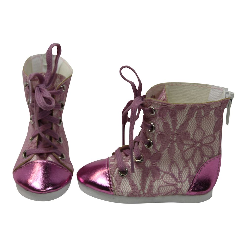 Arianna Pink Metallic N Lace Hi Top Sneakers fit most 18 inch dolls