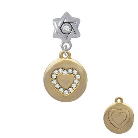 Gold Tone Disc with Crystal Heart - Star of David with Clear Crystal Charm Bead
