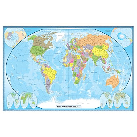 24x36 World Classic Wall Map Poster Mural Laminated