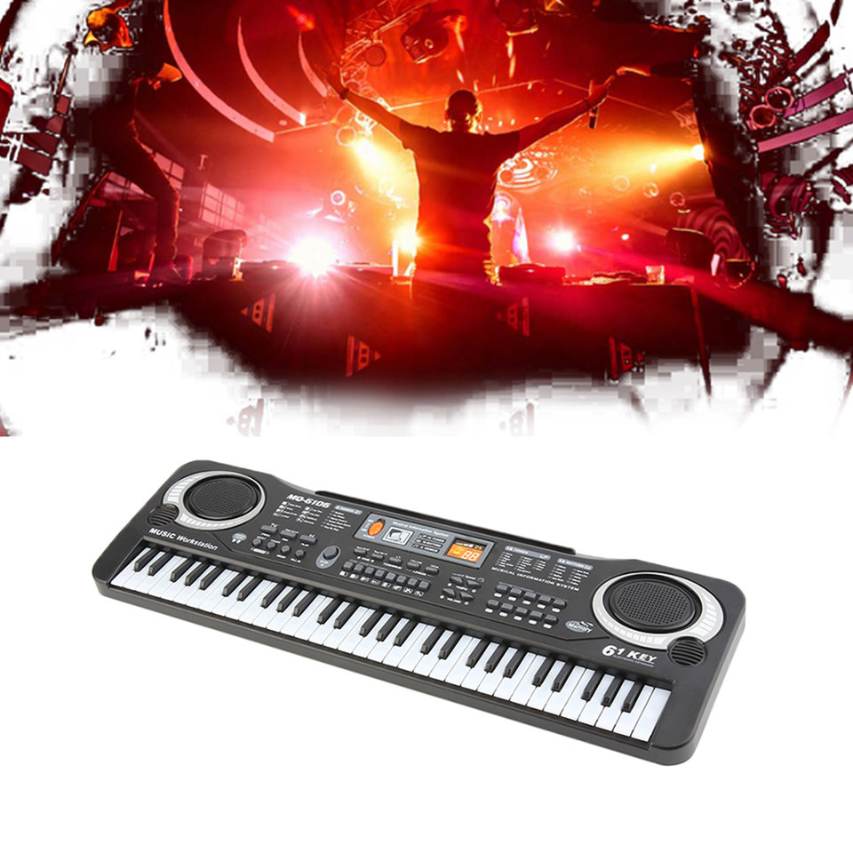 61 Keys 110v Black Kids Electronic Piano Electric Organ Keyboard Music Digital Keyboard With Piano Bench 100 Timbres/100 Rhythms/8 Percussions Without Stand