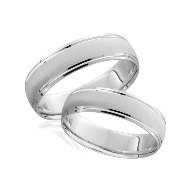 White Gold Brushed Wedding Band Set Matching Mens Womens Rings Solid 14k 6/5MM