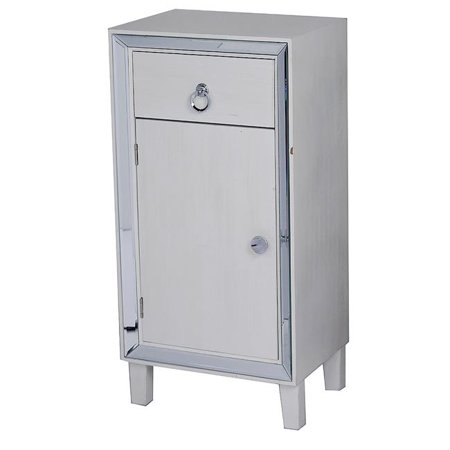 Avery 1-Drawer & 1-Door Tall Accent Cabinet with Mirror Accents - Antique White