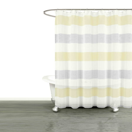 Bathroom and More Collection SHEER Fabric Shower Curtain White, Yellow and Gray Cabana Stripe Design (Shower Curtain 72