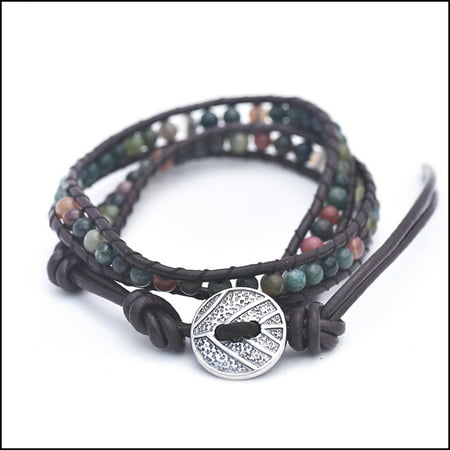 - Genuine Indian Agate - Semi Precious Stones and Leather Wrap Bracelet