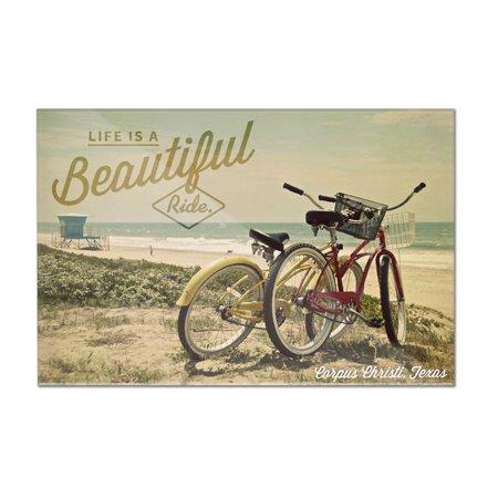 Corpus Christi, Texas - Life is a Beautiful Ride - Beach Cruisers - Lantern Press Photography (12x8 Acrylic Wall Art Gallery (Corpus Christi Horseback Riding On The Beach)