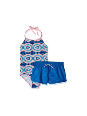 Rivstar Big Girls' Spit Fire Tie Dye With Short Cover Up 1Pc,, Blue, Size 14