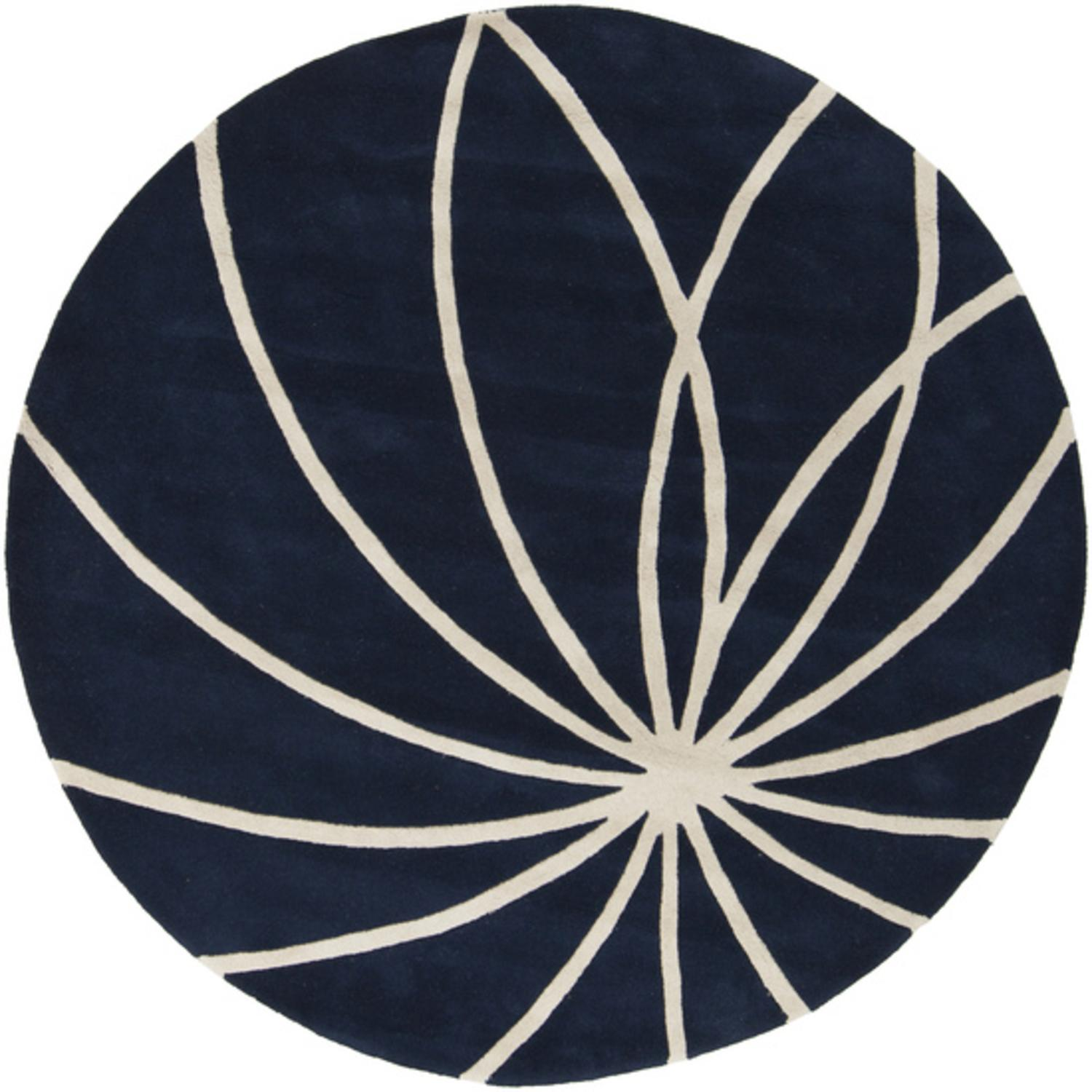 4' Plasma Elektra Antique White and Dark Blue Hand Woven Round Wool Area Rug