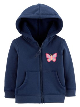 30f64bd54 Product Image Carter's Baby Girls' Zip-Up Hoodie, Butterfly, ...