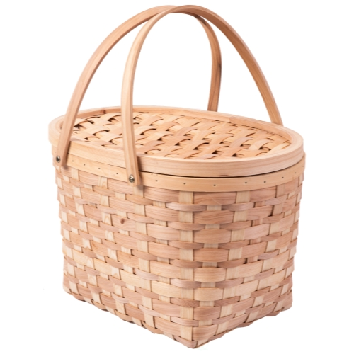 Vintiquewise Extra Large Wood-chip Picnic Basket with Cover and Drop Down Handles