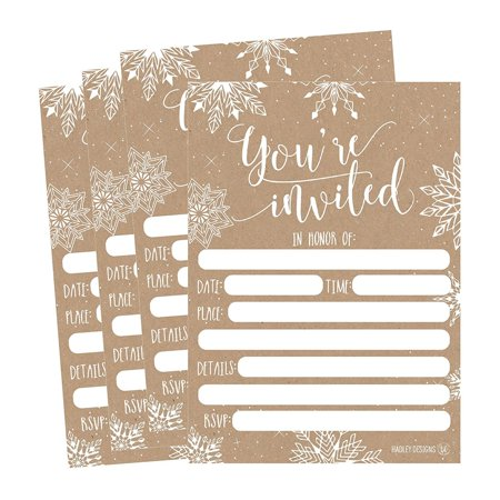 25 snowflake christmas holiday invitations rustic winter new years