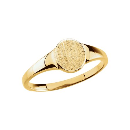 14K Yellow Gold Solid Oval Signet Ring Size 6 for Womens Solid Oval Signet Ring
