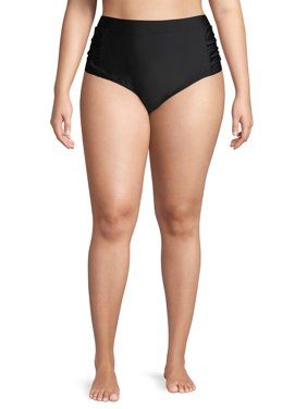 Gloria Vanderbilt Womens Plus Size Ruched Side Banded High Waist Swimsuit Bottom