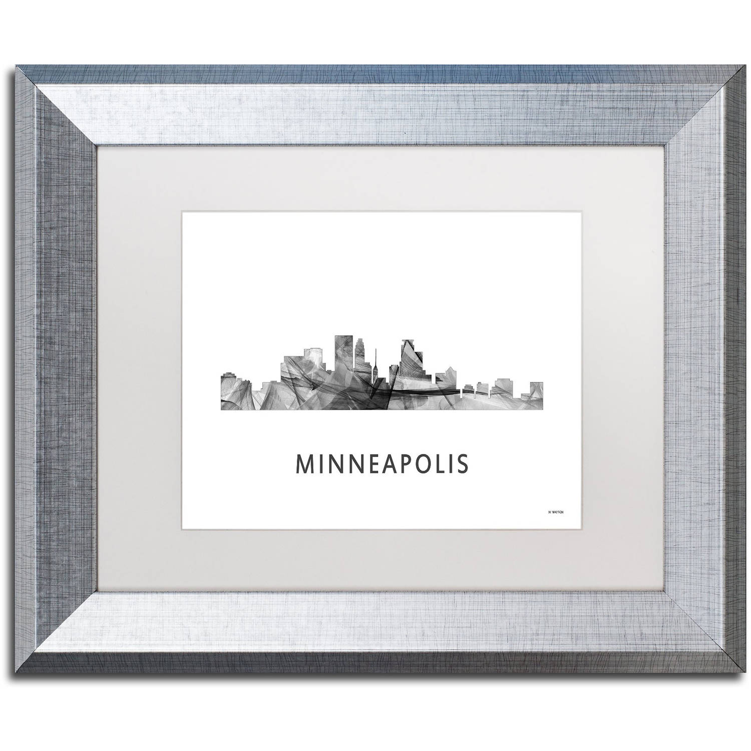 Trademark Fine Art 'Minneapolis MN Skyline WB-BW' Canvas Art by Marlene Watson, White Matte, Silver Frame