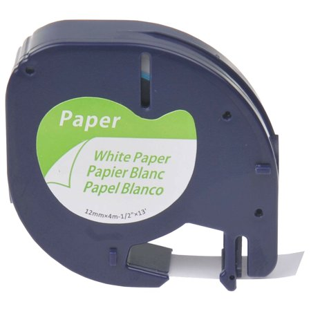 GREENCYCLE 1PK 12mm 4m Black on White Paper Label Tape for Dymo 91330 91220 91200 59421 S0721510 LetraTag Printer