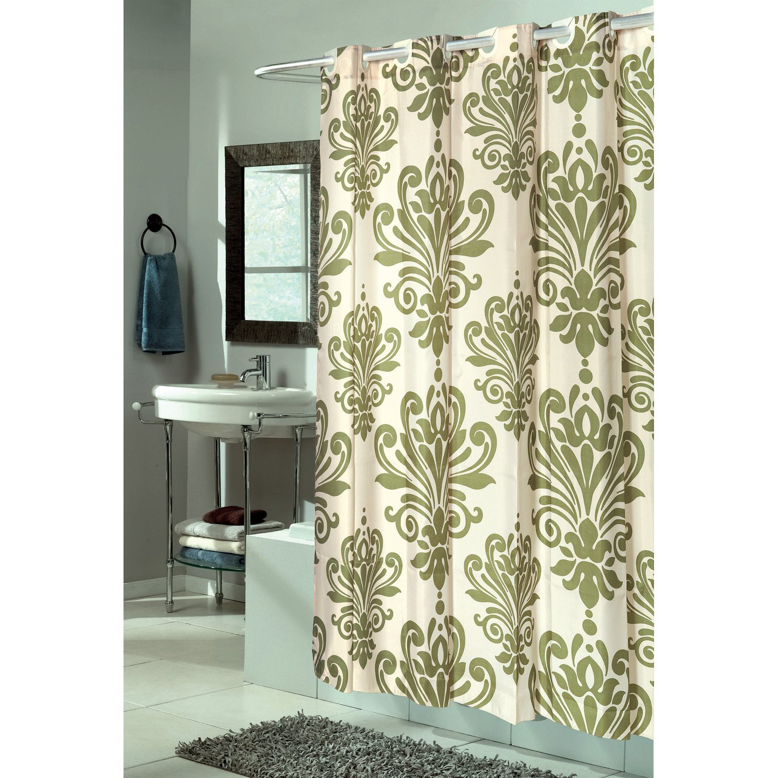 Assorted Colors Beacon Hill Hookless Fabric Shower Curtain