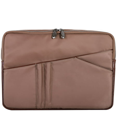 Trim Laptop Case (McKlein AUBURN, Laptop Sleeve, Nano Tech-Light Nylon with Leather Trim, Khaki (18324))