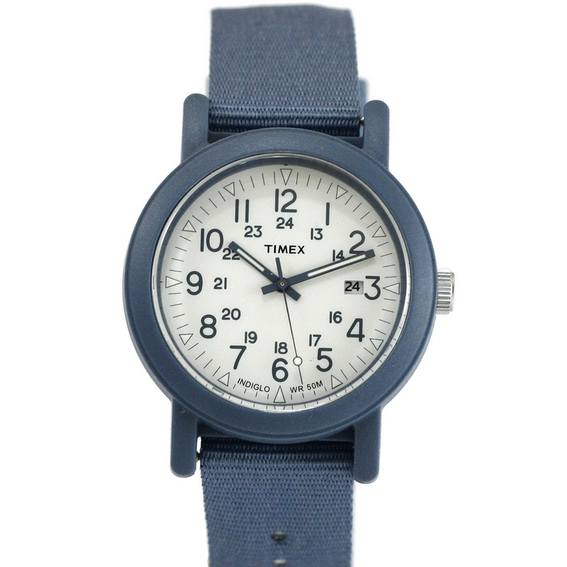Timex T2N428 Unisex Grey Nylon Band With White Analog Dial Watch NWT