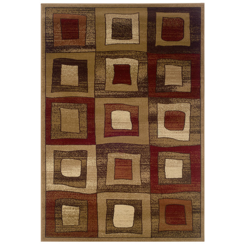 LR Resources Adana Block Design Brown Area Rug