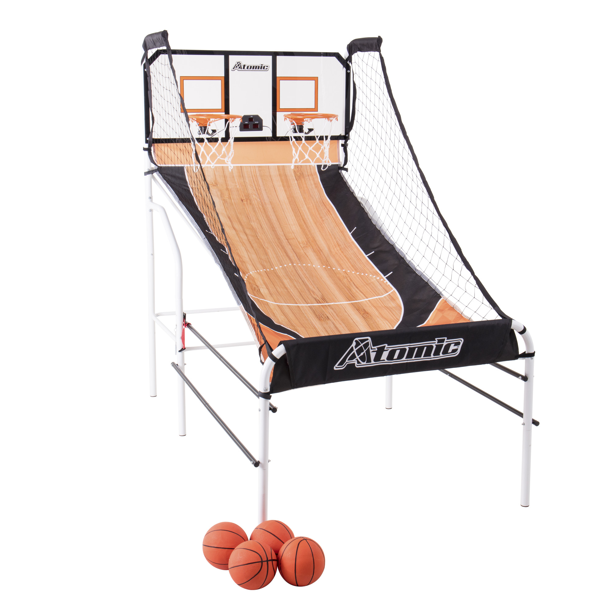 Atomic Slam Dunk Basketball Shootout Includes 4 Miniature Basketballs and Air Pump and Needle