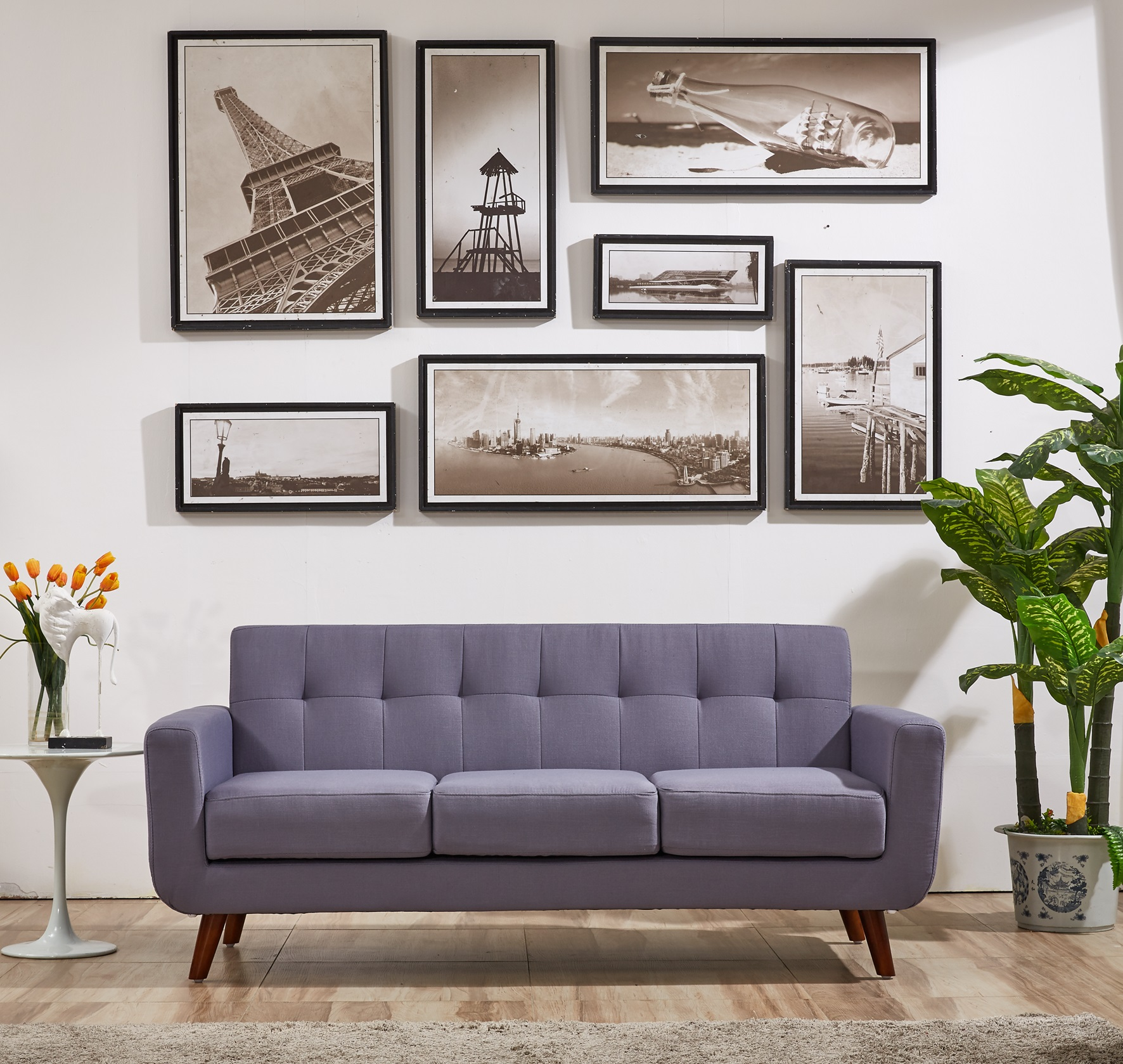 Brilliant Details About Mid Century Modern Upholstery Sofa Tufted Living Room Office Coach In Taupe Gray Onthecornerstone Fun Painted Chair Ideas Images Onthecornerstoneorg